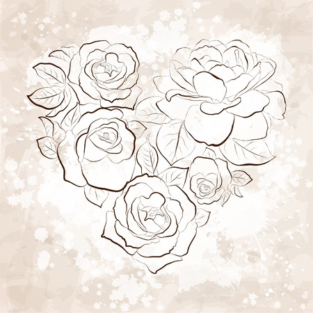 Roses in shape of a heart  Vintage style card Stock Vector - 17531682