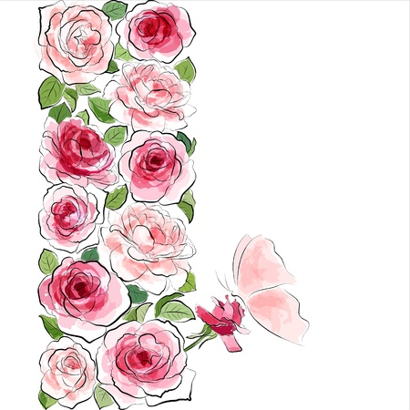 Stylish floral background  Blooming pink roses with butterfly  Illustration