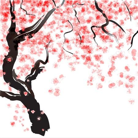 일본 벚꽃 나무의 꽃 수채화 일러스트