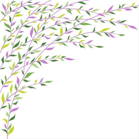 Grün und lila Blätter Grenze Abstraktes Blumenmuster Standard-Bild - 17640656
