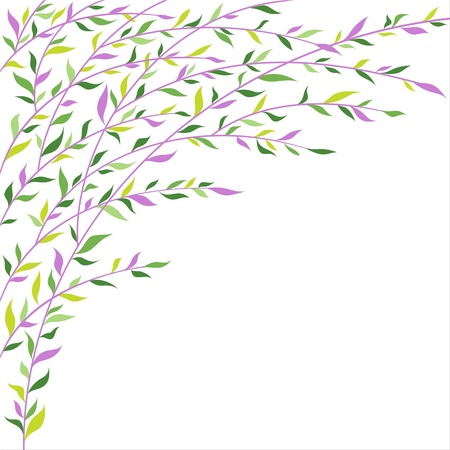 willow: Green and lilac leaves border  Abstract floral pattern