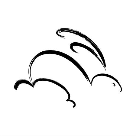 lapin silhouette: Pinceau Calligraphie croquis de lapin rapide Illustration
