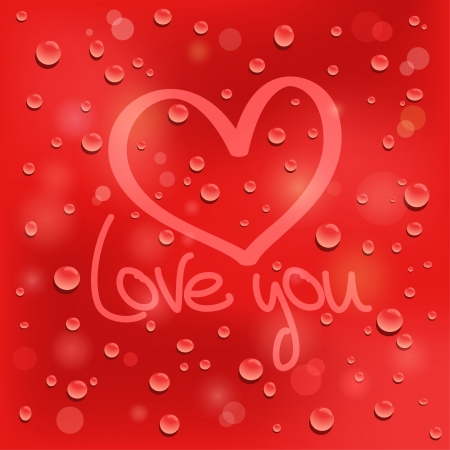 shiny hearts: Love you  Drawn heart on the wet glass  Red background