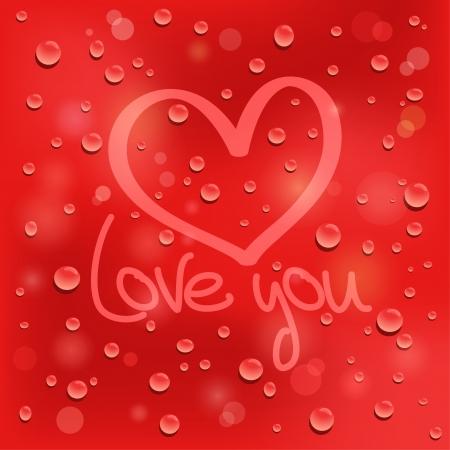 dating and romance: Ti amo cuore disegnato sul vetro bagnato Sfondo rosso