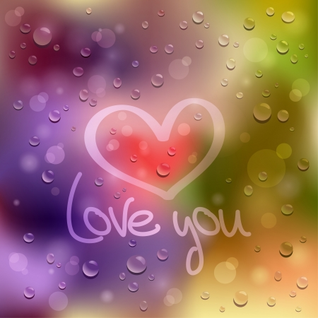 Love you  Drawn heart on the wet glass