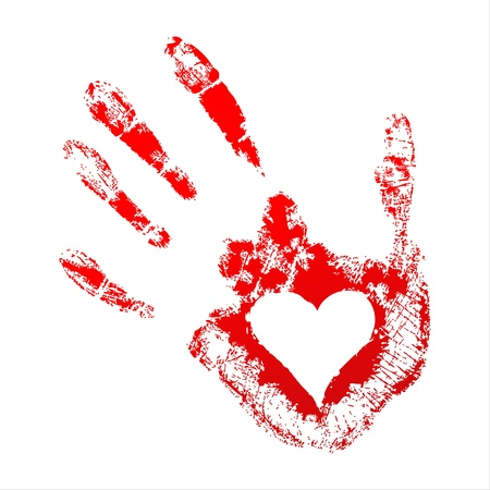 blood donation: Red handprint with a heart inside on white background