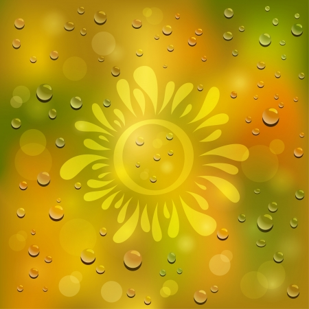 day forecast: Natural green and yellow background  Drawn sun on the wet glass   Illustration