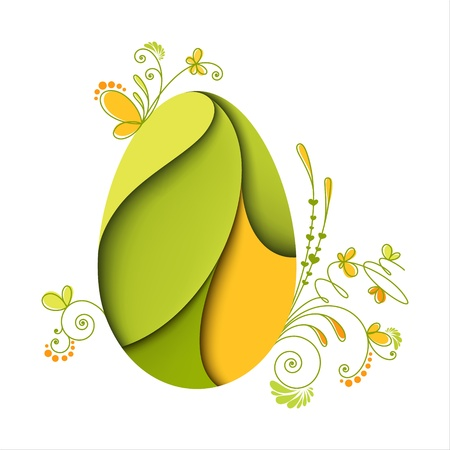 Floral easter egg  Green nature  Card Vector
