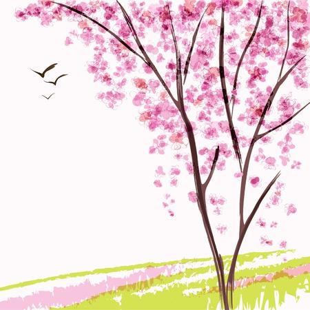Spring blooming tree  Pink flowers