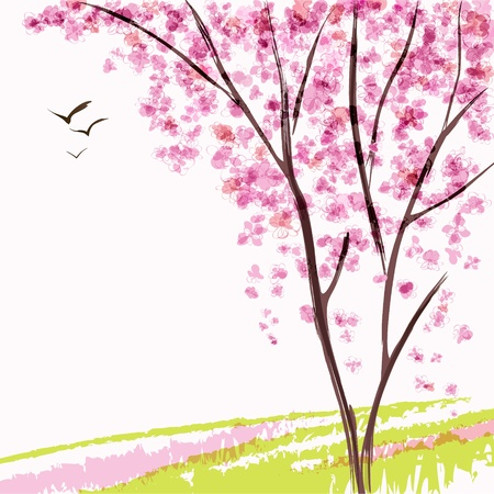 Spring blooming tree  Pink flowers Vector