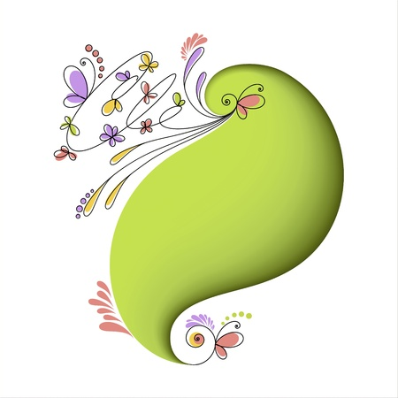 Abstract green background with floral elements  Card Stock Vector - 18298716