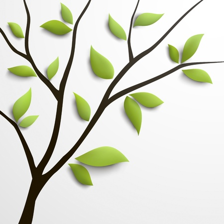 Abstract tree with green leaves   Illustration