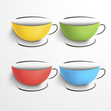 Set of colored cups with saucers  Stock Vector - 18407453