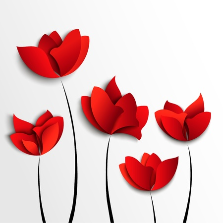 Five red paper flowers on white background Vector