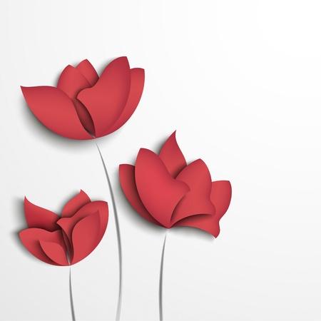 romanticismo: Fiori di carta rosa su sfondo bianco
