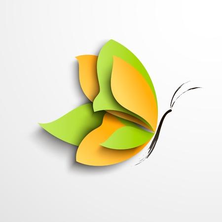 mariposas amarillas: Mariposa verde y amarillo abstracto diseño de papel