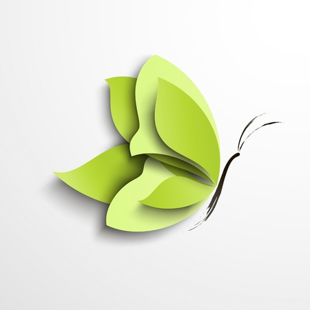 3d butterfly: Green paper butterfly  Abstract design Illustration