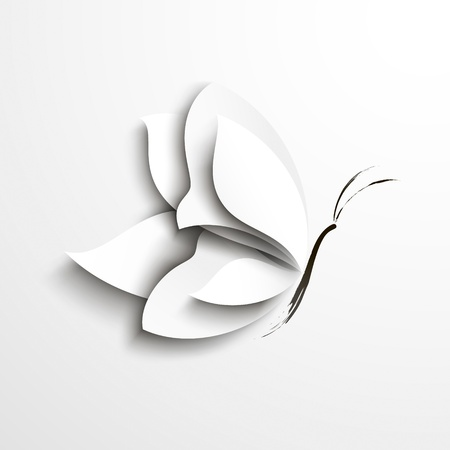 White paper butterfly Abstract design