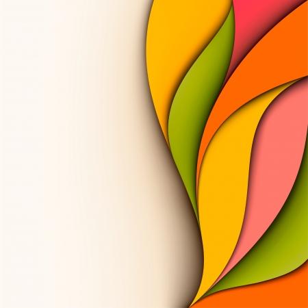抽象的なカラフルなデザイン カット紙の波状の背景
