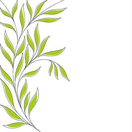 Abstract floral background with green leaves Vector