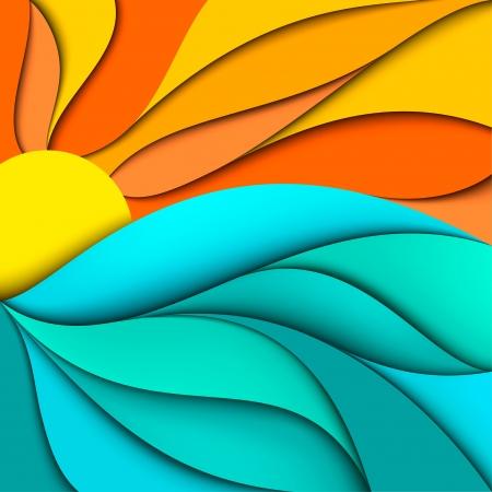 zomer: Zonsondergang zonsopgang Abstract zee golven achtergrond Stock Illustratie