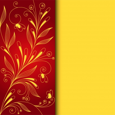Floral pattern on red background  design Stock Vector - 18846116