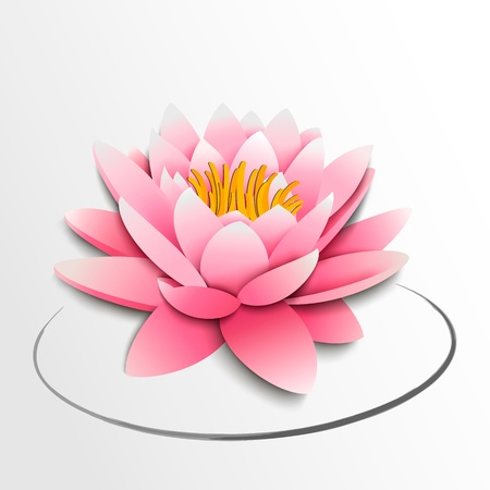 calmness: Pink lotus flower  Paper cutout  illustration