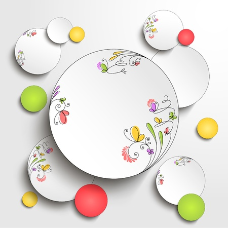 Paper round banner with floral elements  Vector background  Stock Vector - 19049501