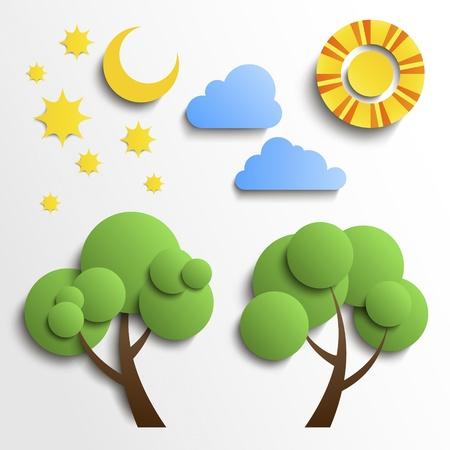 fiambres: Conjunto de iconos de Vector de papel cortado de diseño Sol, luna, estrellas, árboles, nubes Vectores