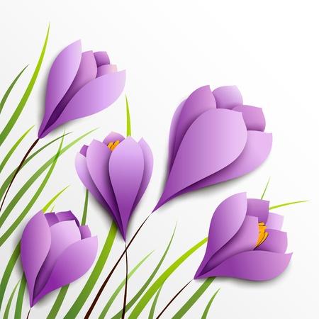 krokus: Krokussen Vijf papieren paarse bloemen op witte achtergrond Stock Illustratie