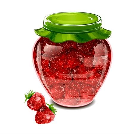 canned food: Jar of strawberry jam  illustration