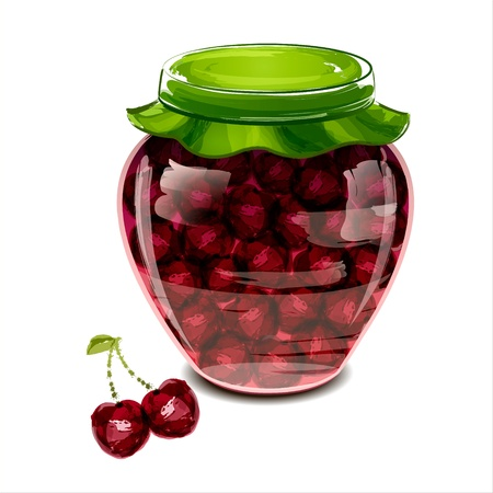 Jar of cherry jam  illustration Vector
