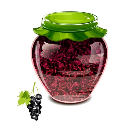 preserve: Jar of black currant jam illustration