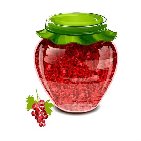 red currant: Jar of red currant jam illustration Illustration