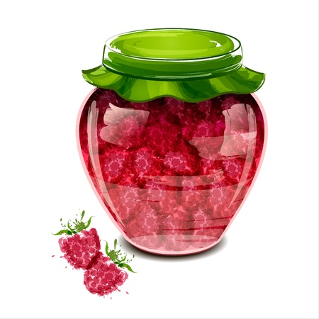 Jar of raspberry jam  illustration