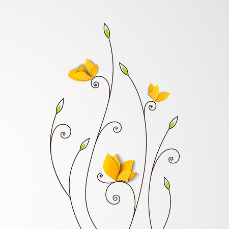 Floral background with paper butterflies  Vector design