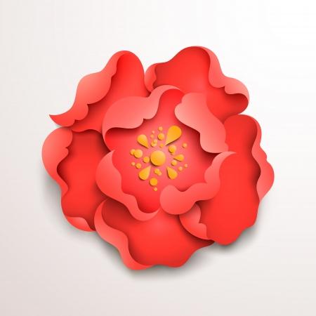 Abstract floral Hintergrund. Red Papier Blume. Vector design Standard-Bild - 20989055