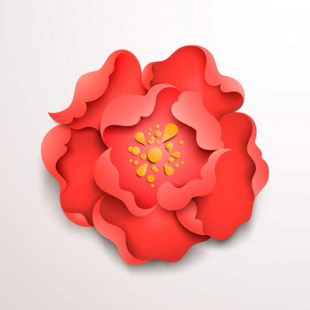 Abstract floral background. Red paper flower. Vector design
