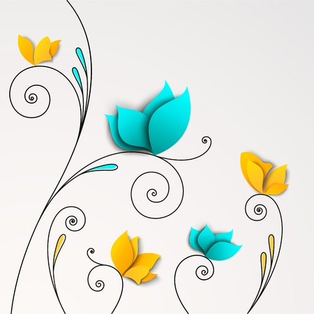 Five abstract paper flowers. FLoral background