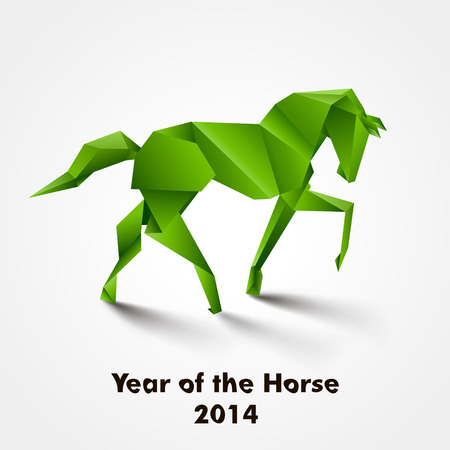 Year of the Horse design  Green origami horse