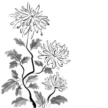 白い背景の上の中国の菊インク絵画  イラスト・ベクター素材