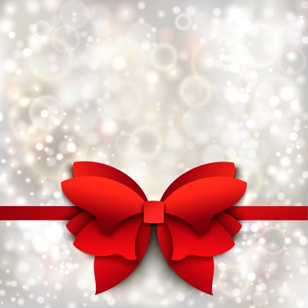 Abstract Christmas background with red bow  Paper cutout Illustration