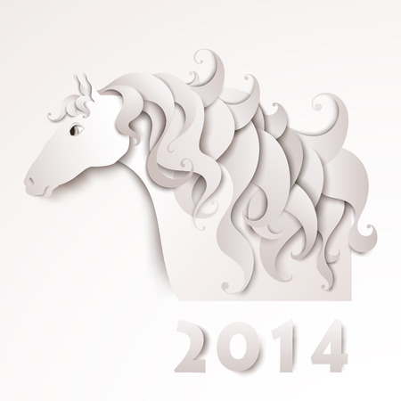 Year of the Horse  Paper cutout  White background