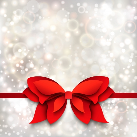 Silver christmas background with red bow  Paper cutout