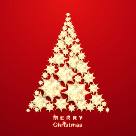 Christmas tree from gold stars on red background