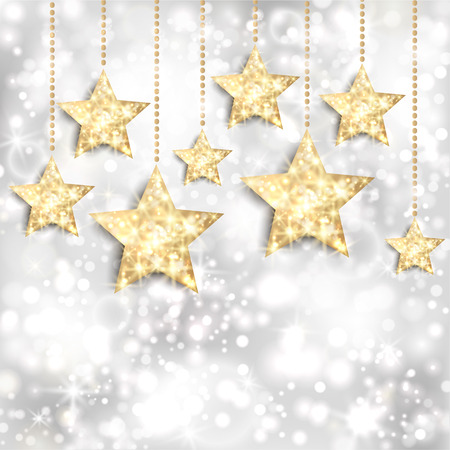 Silver background with gold stars and twinkly lights  EPS10
