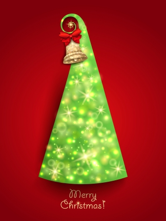 Christmas Greeting Card. Green Christmas tree with twinkly lights and gold Christmas bell