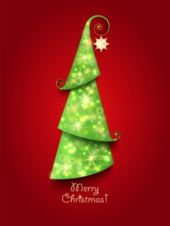 Christmas Greeting Card. Green Christmas tree with twinkly lights and gold star Illustration