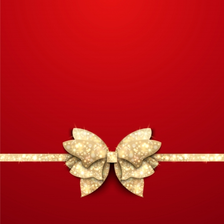 Red Christmas background with gold shining bow