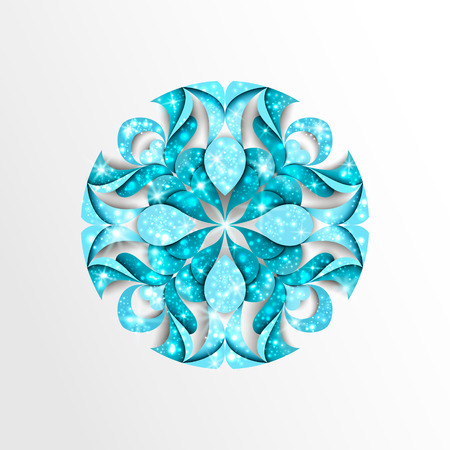 Blue paper snowflake with stars and twinkly lights Illustration